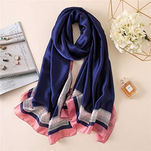 MYTJG Lady sjaal vrouwen effen kant zijden sjaal sjaal bedrukken zachte sjaal sjaal sjaal wikkelkraag herfst en winter