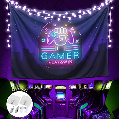 ARGIGU Gamer Play & Win Purple Gamepad Tapestry, Cool Colorful Gaming Wall Hanging Tapestry For Men,Bedroom Aesthetic,College Dorm Room Decor(78.7 x 59in)
