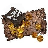 Bolsa de Tesoro Pirata Mapa del Tesoro Monedas de Oro Bolsa de capitán Calavera Niños para Fiesta de Disfraces de Pirata