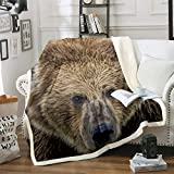 Castle Fairy 3D Brown Bear Printed Sherpa Blanket Couch Sofa Chair Bed Large Bear Face Flannel Throw Wild Animal Theme Blanket Size(60inchx80inch)