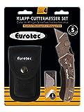 Eurotec Klapp-Cuttermesser Set inkl. 5 Ersatzklingen und Gürteltasche Cutter