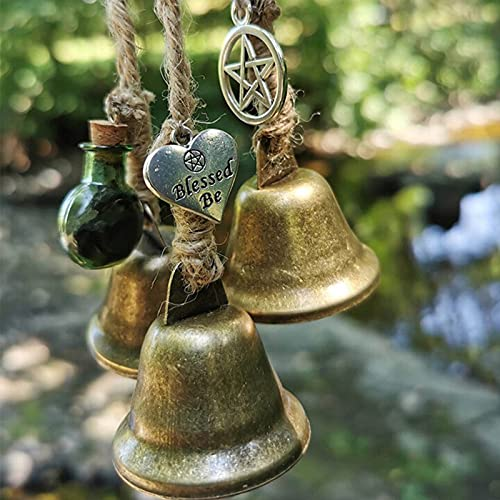 Witches Bells, Door Protection Charm, Witch Wind Bell Magic Wind Chime, Wicca Decor, Altar Decor, Magick Witchcraft Supplies, Celtic Door Bells Protection Charm for Porch, Garden, Window Decor (A)