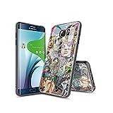 XINlOFNhE Compatible con Samsung Galaxy S6 Edge Funda diseño de patrón, Parte Trasera de Cristal Templado + Funda Protectora de TPU de Silicona Suave para Samsung Galaxy S6 Edge C#010