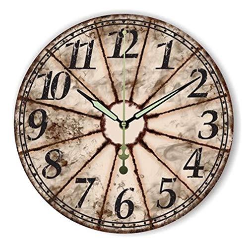 FOOSKOO Wall Clocks Horloge Murale Style rétro Vintage Vintage muet Grande Horloge Murale Montre Shabby Chic Home Decor Salon 16 Pouces / 40 cm (Conception : E)