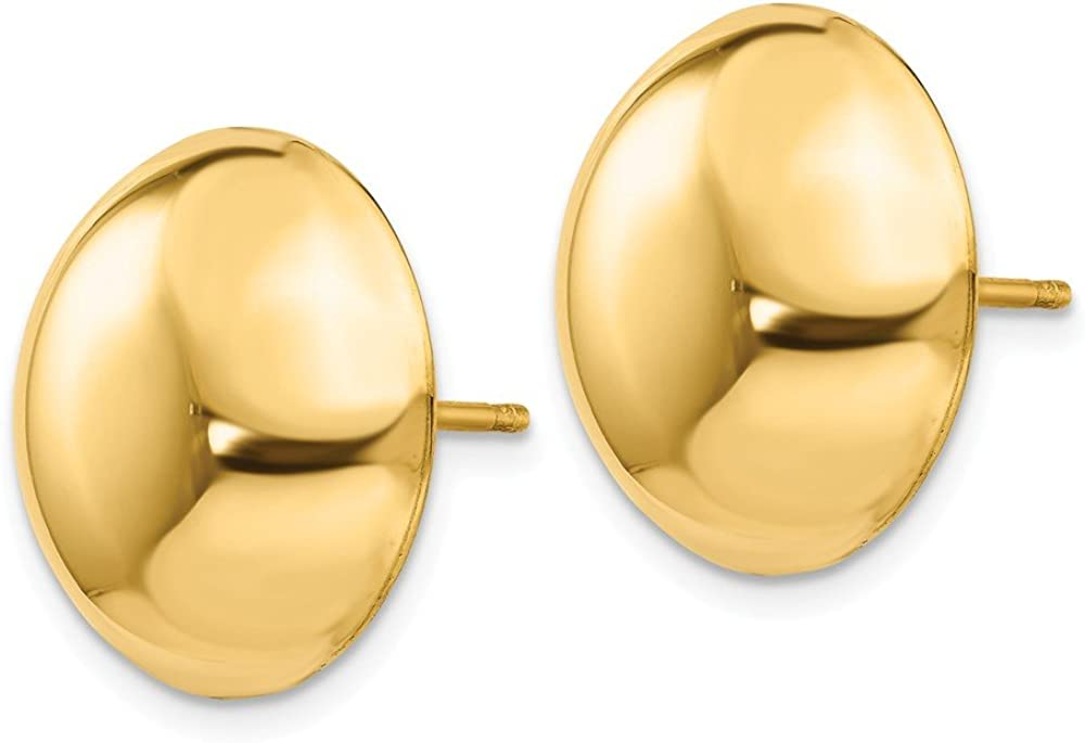 FB Jewels Solid 14K Yellow Gold 15.50mm Button Post Earrings