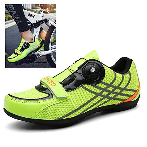 Zapatos De Bicicleta Antideslizantes Transpirables with Rotating Button Puede Abrir O Cerrar Cordones De Zapatos Rápidamente para Carretera y Monta, Cómodo y Duradero,B,36