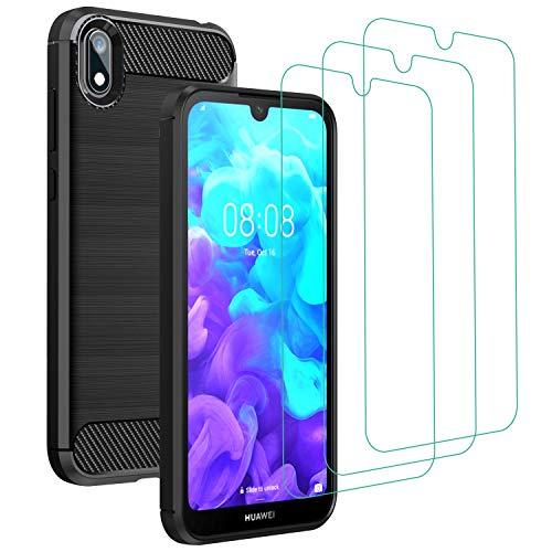 iVoler Cover per Huawei Y5 2019 / Huawei Honor 8S con 3 Pezzi Pellicola Vetro Temperato, Fibra di Carbonio Nero Custodia in Morbida Silicone TPU Anti-Graffio Antiurto Protettiva Case