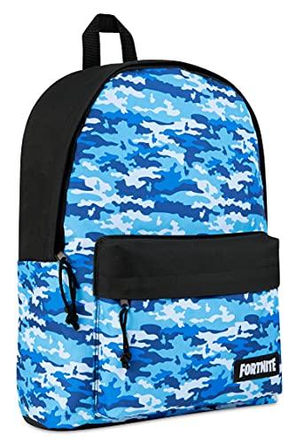 Fortnite Mochila Escolar Niño, Mochilas Escolares Juveniles, Bolsas Colegio para Niños Adolescentes, Producto Oficial Fornite (Camo Azul)