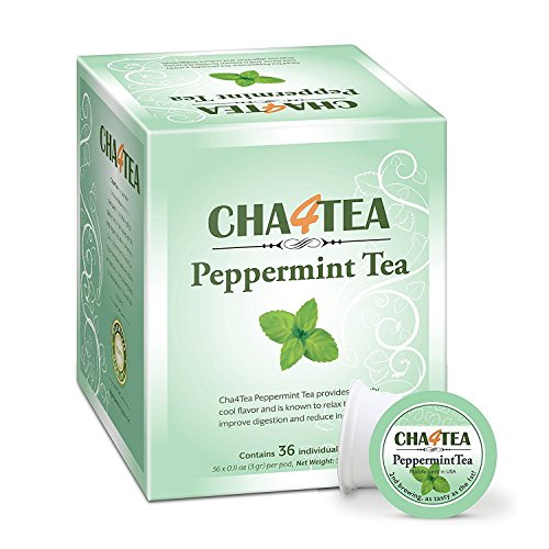 Cha4TEA 36-Count Peppermint Tea Pods for Keurig K-Cup Brewers