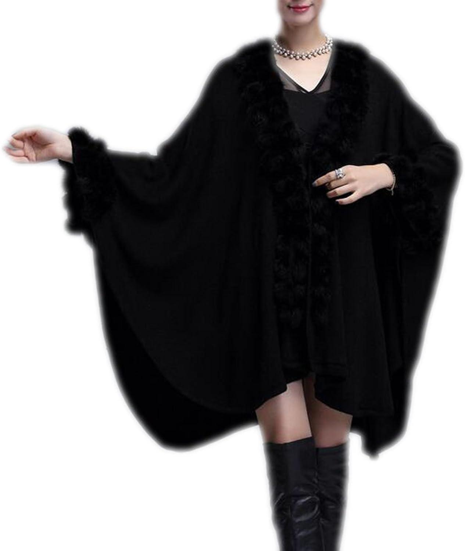 Winter Women Imitated Cashmere Solid Long Shawl Cloak Knit Cardigan Coat,BlackOneSize