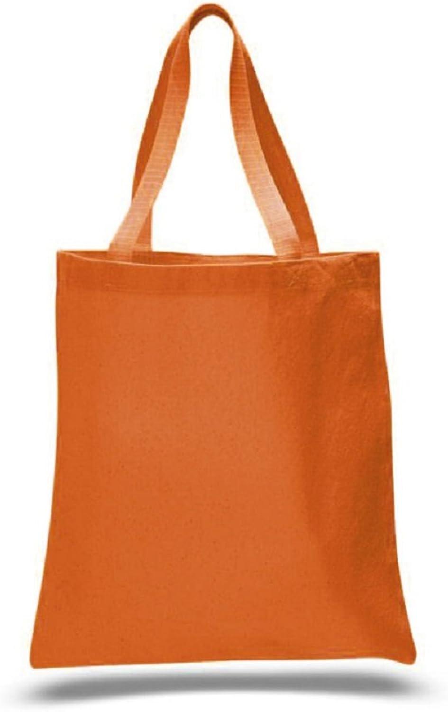 (12 Pack) 1 Dozen  Heavy Cotton Canvas Tote Bags (Texas orange)