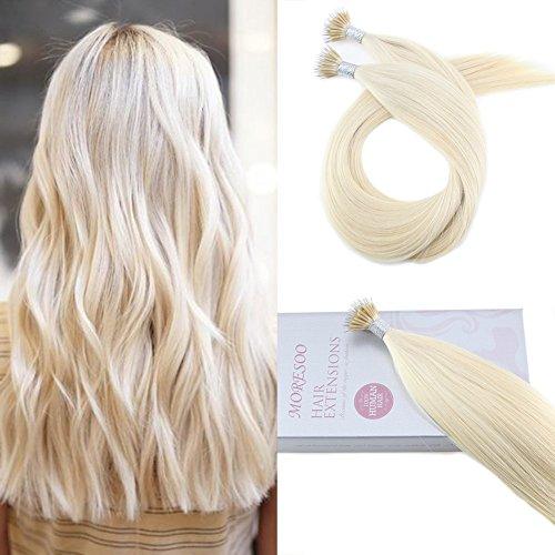 Moresoo Remy Nano Ring Echthaar Extensions Blond #60 Stick Tipped Glatt Haarverlangerung 0.8g/Strähnen 50Strähnen/40g 20zoll/50cm Remy Haar Extensions