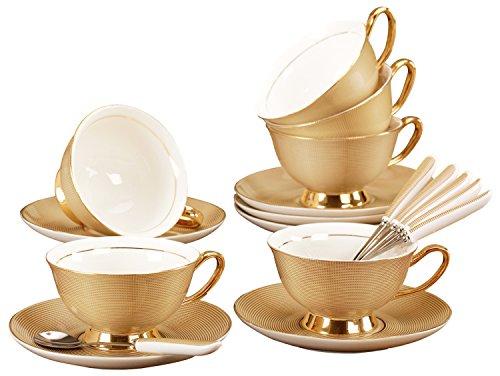 Jusalpha Porcelain Tea Set-Golden Brown Tea Cup and Saucer Coffee Cup Set with Spoon FD-TCS09 (Set of 6)