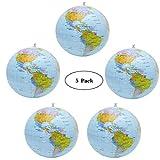 5 Pezzi Globo Gonfiabile Globe PVC da Mondo Terra Gonfiabile Globo Pallone da Spiaggia per Giocare in Spiaggia o Insegnare, Mappamondo gonfiabile in Inglese per Regalo Festa del Giorno dei bambini