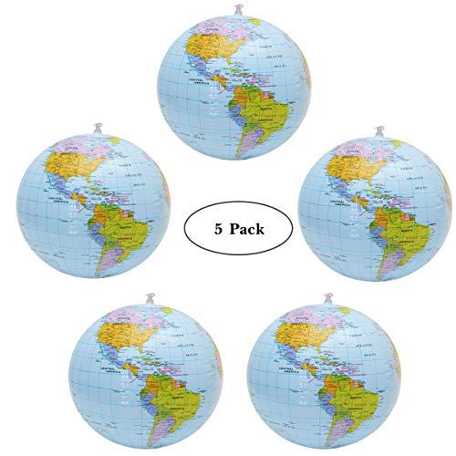 YuChiSX 5 Stück Aufblasbare Globe PVC World Globe aufblasbar Earth Beach Ball für Strand Spielen oder Lehre, ideal für Strand, Pool, Geburtstagsfeiern,Wissenschaft Geographie Bildung