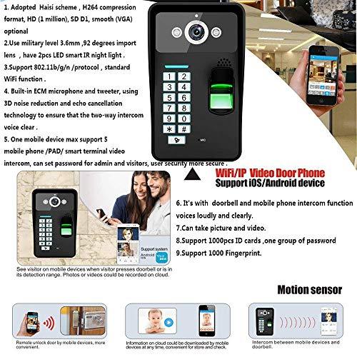 NA Home Hd 720P Draadloze WiFi RFID Wachtwoord Vingerafdruk Herkenning Video Deur Telefoon Deurbel Intercom Systeem Nachtzicht + Elektrische Magnetische Deurvergrendeling 180Kg+Waterdicht Toegangscontrole Systeem