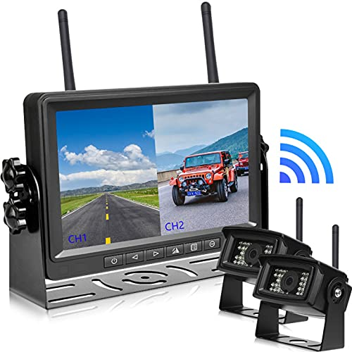 Cámara Visión Trasera Inalámbrica, Kit de Cámara de Visión Trasera YYKJ con Sistema de Monitor HD, Pantalla Dividida con Parasol y Cámara de Marcha Atrás IP68 Impermeable de 2 Piezas