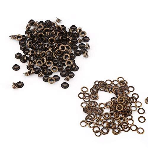100pcs Metallösen, Ösen Kleine Öse mit Unterlegscheiben für Lederhandwerk DIY Nähzubehör (6mm)