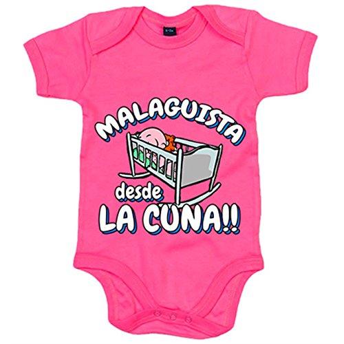 Body bebé Malaguista desde la cuna Málaga fútbol - Rosa, 12-18 meses