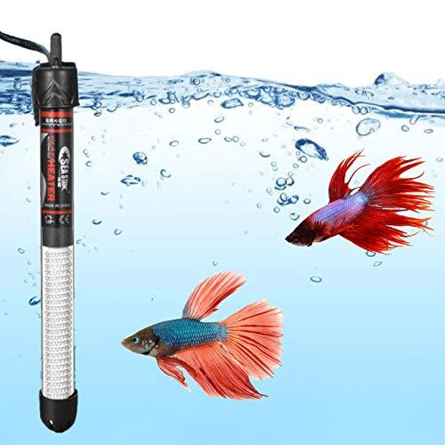 Calentador de pecera, termostato automático sumergible para acuario, calentador de acuario de cuarzo tropical con ventosas y función de temperatura ajustable de 100 W para 20 – 45 galones
