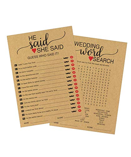 He Said She Said and Wedding Word Search Bridal Shower Games (50 pack – 2 Games in 1 Sheet) – Bride or Groom Said It - Engagement Bachelorette Fun Party Games – Guessing Activity - Kraft Rustic