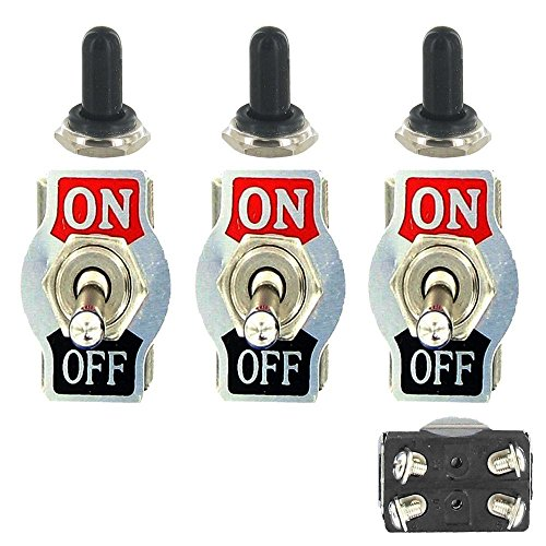 E Support™ 3 X Interrupteur Inverseur ¨¤ Bascule Levier en M¨¦tal ON/OFF 4 Terminal Pin DPST Poids Lourd 20A 125V 15A 250V bouton casquette