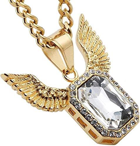 DUEJJH Co.,ltd Iced Out Angel Wings Anhänger Halskette für Männer Frauen 5mm kubanische Bordsteinkette Hip Pop Halskette 24 Zoll (Gold)