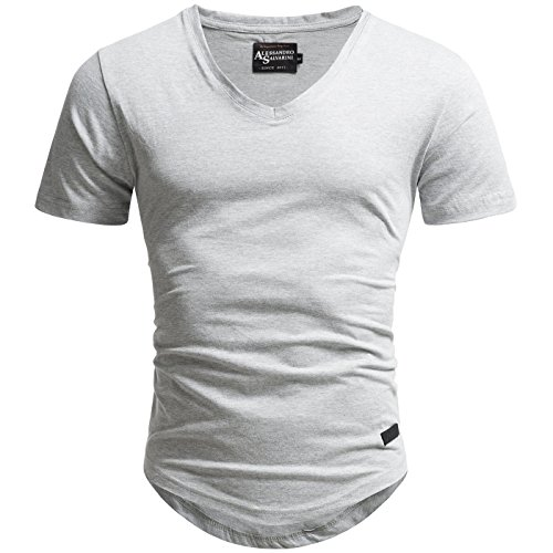 A. Salvarini Herren Designer T-Shirt Kurzarm Oversize Sommer Shirts Basic V-Ausschnitt V-Neck Rundhals [AS-077-Hellgrau-Gr.L]