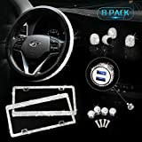 Tchipie Bling Car Accessories Set for Women, 8-Pack Bedazzled Diamond Steering Wheel Cover...