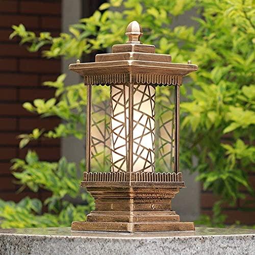 Lámpara de pilar Vintage Jardín al aire libre Impermeable IP55 Poste Bolardo Luz Exterior Gazebo Patio Patio Cuadrado Columna LED Luz Linterna de vidrio E27 Pasarela Pasarela Iluminación de paisaje