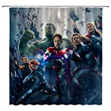 CHENGHUI Marvel Cinematic Universe Duschvorhang, wasserdicht, Polyester, Marvel Comics Good Guys Super Hero Dekor-Set mit Haken, Grün/Blau/Grau