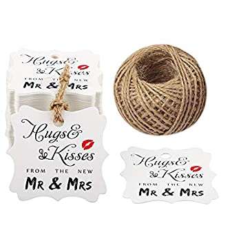 Original Design Wedding Favor Gift Tags 100 PCS White Square Tags with 100 Feet Natural Jute Twine Perfect for Bridal Baby Shower Anniversary- Hugs & Kisses from The New Mr & Mrs