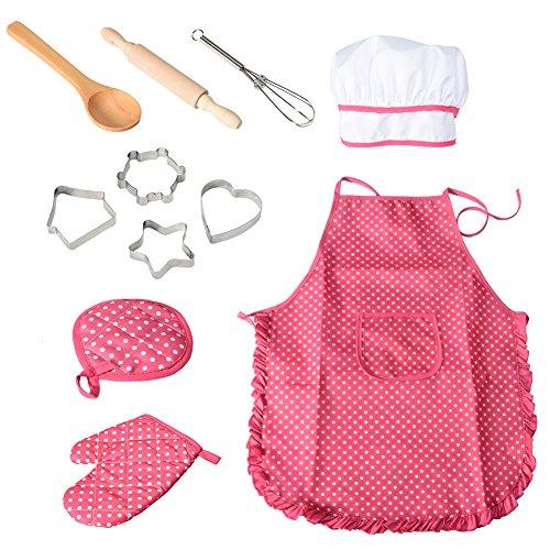 Twister.CK Conjunto de Juego de rol de Chef con Traje de Vestir y Accesorios de Cocina, Juego de Juguete de Juego de 11 Piezas para niños, Navidad y Fiesta de cumpleaños