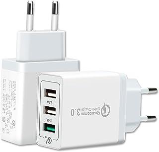 Cargador USB Multiple Qualcomm Quick Charge 3.0 - Enchufe Cargador USB Rápido de Pared - Cargador USB Red Inteligente - Cargador Móvil Carga Rápida con 3 Puertos para iPhone, Samsung, LG, Nexus y más