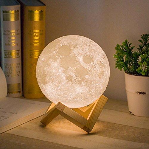 Yidarton 月のライト ベッドサイドランプ ナイトライト テーブルランプ デスクライト インテリア 3Dプリント 約8-12時間照明 LEDライト USB充電式 癒し二色切り替え タッチスイッチ調光