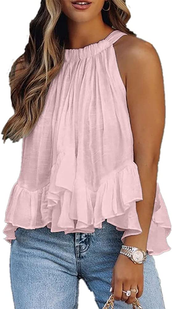 Hdieso Women's Halter Ruched Ruffle Solid Color Double Layer Summer Sleeveless Tops Casual Tank Tops
