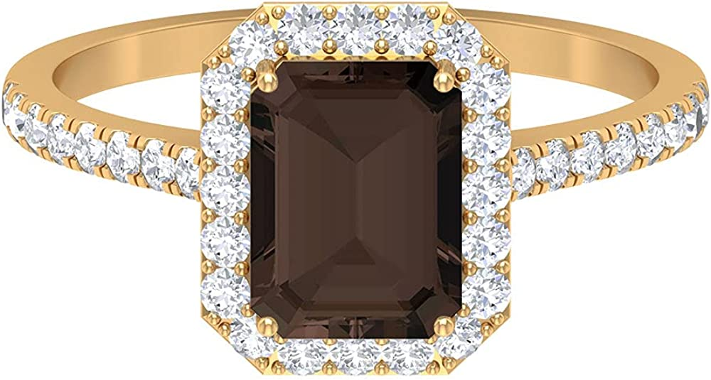 June Birthstone - 2.25 CT Octagon Cut Smoky Quartz Solitaire Ring with Moissanite Side Stones (AAA Quality), 14K Gold