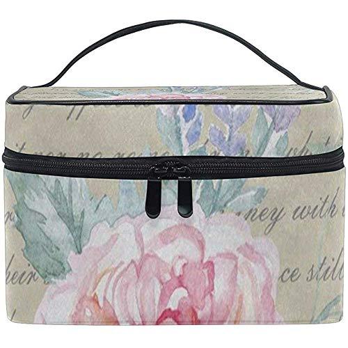 Cosmétique Sac Aquarelle Rose Rose Lavande Femmes Maquillage Organisateur Filles Trousse De Toilette Boîte Paresseux Zip Sac
