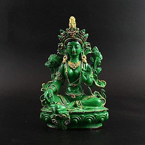 JANEFLY Estatua de Buda de Tara Verde Tibetano tntrico Guanyin Resina de Color Verde Tara y decoracin de Las estatuas Principales