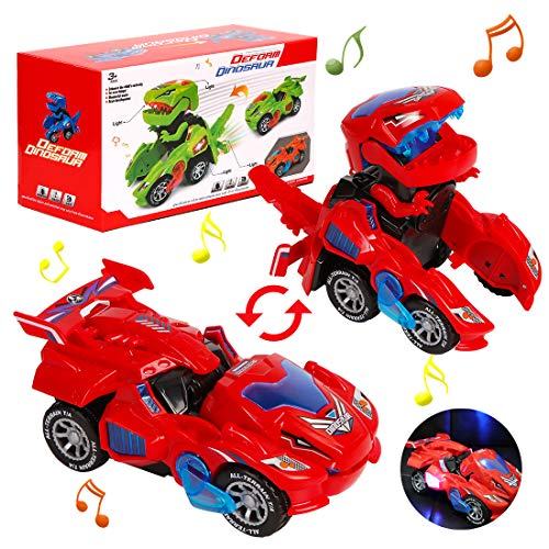 Transformación Dinosaurio Coche, Vehículos de Dinosaurios, Coche Transformer Dinosaurio, Robot de Coche Transformador de Dinosaurio Juguetes Regalos de Cumpleaños Niños Juguetes, Dinosaurios J