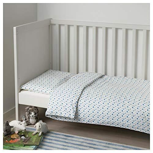 MSAMALL GULSPARV Bettbezug / Kissenbezug für Kinderbett, Blaubeere gemustert, 110 x 125 / 35 x 55 cm, strapazierfähig und pflegeleicht, Babybettwäsche, Bettwäsche, Textilien, umweltfreundlich.