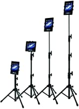 IPad Tripod Stand, Raking Foldable Floor Height Adjustable Tablet Tripod Stand for iPad Mini, iPad Air, iPad 1,2,3,4 and All 7-10 Inch Tablets, Carrying Case and Flashlight as Gifts