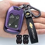 Tsisun Smart Key Fob Cover Case for 2017-2021 Chevrolet Chevy Silverado 1500 2500HD 3500HD Suburban Tahoe Colorado Smart Remote Control protector3/ 4/5/6 Button(Purple)