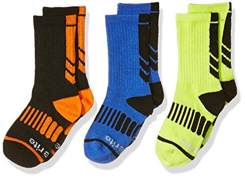 Stride Rite Boys' Little 3pk Athletic Comfort Seam Crew, Andy Black, Sock: 7-8.5 / Shoe: 10-13