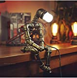 WDFDZSW Water Pipe Robot Retro Table Lamp,Creative Iron Tube Edison LED Table Light Fixtures Industry Loft Vintage Decor Lamp Coffee Bar, Great Addition to Bedroom, Living Room (Lampshade Color : F)