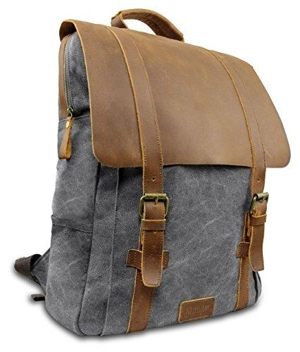 """Laptop Rucksack Retro 15\"""" - Echt Leder Vintage Rucksack für die Uni, Schulrucksack oder Business - universal einsetzbar – Ein lässiger Unisex Backpack / Daypack original von My1St™ (Hell-Grau)"""