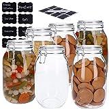 6er Set Vorratsdosen aus Glas mit Bügelverschluss, Vorratsgläser, Glasbehälter   Runde bzw. Ovale Form   inkl. 8 Kreideetiketten und Stift   luftdicht, auslaufsicher, Mottensicher (6x 1500ml)