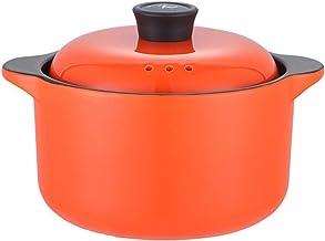 Cooking Stock Pot Creative Korean Ceramic Pot Soup Small Casserole Binaural Household Soup Pot (Color : Orange, Size : 25x...