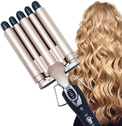 CreBeau Lockenstab, 5 Fässer Große Lockenstab Haarwickelzange Hair Waver Pearl Waving Lockenwickler, Wellenstyler Turmalin Keramik Digitale Temperaturanzeige für Lange/kurze Haare