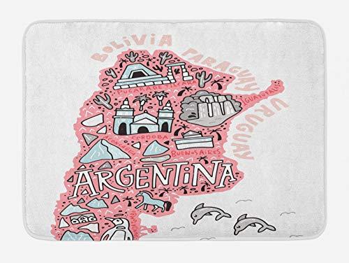 ABAKUHAUS Argentina Tapete para Baño, Mapa y Elementos de Bosquejo, Decorativo de Felpa Estampada con Dorso Antideslizante, 45 cm x 75 cm, Pink Blush